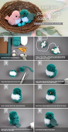 Pom pom birds by Lia Griffith. Pom Pom Love Birds Omw, so cute! Sweeten up your decor with some DIY pom pom love birds! Pom Pom Liebesvögel: Source by kerribuschel Observe our tutorial to make a set of yarn birds along with your little ones! These love b Kids Crafts, Cute Crafts, Easter Crafts, Crafts To Make, Craft Projects, Arts And Crafts, Craft Tutorials, Creative Crafts, Zoo Crafts