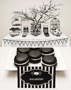 LOVE this layout - great ideas for food - white donuts with spiders scattered through, black sodas, branches sprayed black, treat bags hanging from branches with sparkly spiders attached to the front - SO cute!