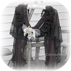 Gothic Victorian Lace Wrap Shawl  Antique Mourning Cape. via Etsy.