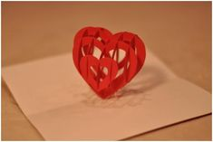 Pop-up heart card to make with instructions and template