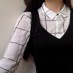 Long sleeve collared shirt under sleeveless dress
