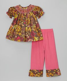 Take a look at this Brown & Pink Flower Dusk Bishop Top & Pants - Toddler & Girls by Stellybelly on #zulily today!