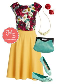 """""""Whimsy and Wonder Top in Still Life"""" by modcloth ❤ liked on Polyvore featuring Emily and Fin, women's clothing, women, female, woman, misses and juniors"""