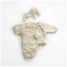 Organic silk & merino wool premature - 6m side close body