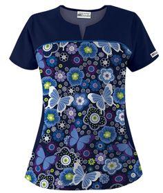 UA Butterfly Bloom Navy Fashion Print Scrub Top Style # UA678BNV #uniformadvantage #uascrubs #butterfly #scrub #scrubtop Royal Blue Scrubs, Navy Blue Scrubs, Work Fashion, Fashion Prints, Cute Scrubs, Scrubs Uniform, Medical Uniforms, Nursing Clothes, Scrub Tops