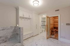 Mudroom and Sauna Sterling Heights Michigan, Design Studio, House Design, Dog Cleaning, Dog Shower, Shower Enclosure, Plumbing Fixtures, Bath Design, Mudroom