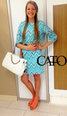 Get this look at Catofashions.com!  #Spring2014 #Aztec Dress #Cato Fashions