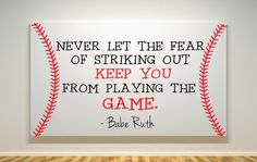 Baseball Canvas Babe Ruth Quote Fear Of by DearlyLovedBoutique, $30.00 @Nicole Novembrino Novembrino Novembrino Stocks