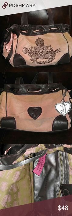Cute pink and brown bag Dirty in the inside and a few stain on the outside. Juicy Couture Bags Totes