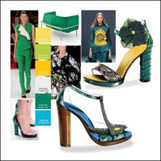 Shoes Trend Book No. 28 - S/S 2014 Super 10 Cotton: 5020 goldenrod, 3533 canary, 5907 Fresh, 3046 silver, 5701 Basil, 3062 turquoise