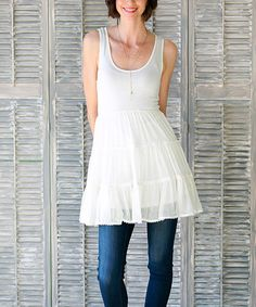 Another great find on #zulily! Ivory Emma Ruffle Tunic Dress #zulilyfinds