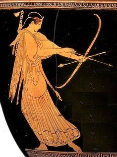 Detail of Artemis drawing her bow from a depiction of the death of Aktaion. The goddess wears a head band, a deer-skin shawl, and a quiver strapped across her back.Attic Red Figure, ca 470 BC, Museum of Fine Arts, Massachusetts, Boston, USA.