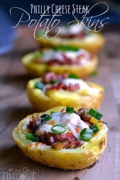 Philly Cheese Steak Potato Skins are sure to please any crowd! Appetizer or…
