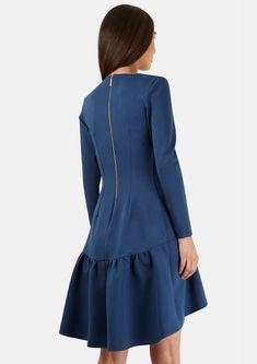 Teal Long Sleeve Pep Hem Jersey Dress