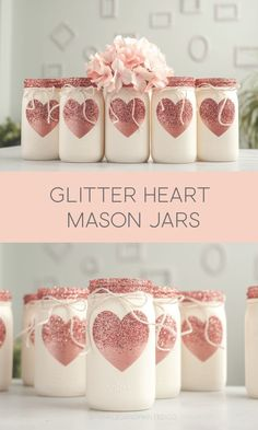 Rose Gold Glitter Heart Painted Mason Jars – – Ellise M. Rose Gold Glitter Heart Painted Mason Jars – – The post Rose Gold Glitter Heart Painted Mason Jars – – Ellise M. appeared first on Crafts. Glitter Mason Jars, Painted Mason Jars, Mason Jar Crafts, Mason Jar Diy, Bottle Crafts, Glitter Hearts, Rose Gold Glitter, Glitter Paint, Sparkles Glitter