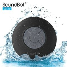 A Soundbot water resistant speaker that uses bluetooth to play music or make phone calls.