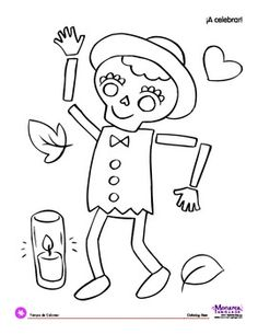 Coloring Page: Día de los Muertos: Day of the Dead: Dancin