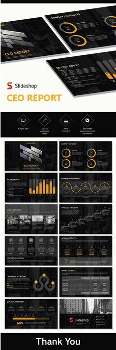 Buy CEO Report by Slideshop on GraphicRiver. A highly editable presentation template. Presentation format in .pptx Users will received two presentation file sizes. Professional Powerpoint Templates, Powerpoint Themes, Business Powerpoint Templates, Creative Powerpoint, Keynote Template, Powerpoint Designs, Presentation Format, Business Powerpoint Presentation, Graphisches Design