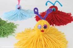 Yarn Monsters for Kids: Easy Craft Tutorial - Darice Yarn Crafts For Kids, Easy Crafts, Arts And Crafts, Yarn Monsters, Christmas Yarn, Christmas Child, Yarn Dolls, Yarn Projects, Class Projects