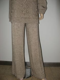 Knit Beige Alpaca Loose Trousers Winter Knitted by TalitaHandMade