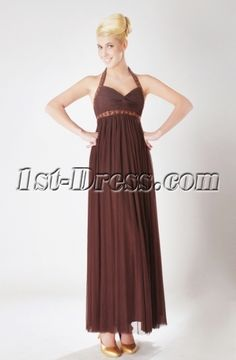 Brown Halter Ankle Length Maternity Bridesmaid Dresses SOV111008 Maternity Bridesmaid Dresses, Tea Length Bridesmaid Dresses, Prom Dresses 2016, Evening Dresses, Groom Colours, Pleated Fabric, Ankle Length, Chiffon, Empire