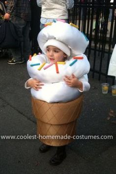 Homemade Ice Cream Cone Costume: For this vanilla ice cream cone costume, we first used an old lampshade and some foam, both covered in tan colored fabric to create the ice cream cone.