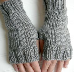 Autumn Stroll Hand Knit Fingerless Gloves in Misty Grey Fingerless Gloves Knitted, Knitted Hats, Mitten Gloves, Mittens, Gray Away, Cable Knit Hat, Dear Mom, Arm Warmers, Hand Knitting