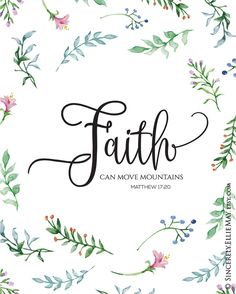 Faith Wall Art Decor Printables - Faith Can Move Mountains Poster- YOU PRINT Christian Verse Gifts, great as Home or Office Decor 40140 - Glaube Scripture Quotes, Bible Art, Bible Scriptures, Faith Quotes, Short Bible Verses, Scripture Painting, Encouragement Quotes, Christian Verses, Christian Faith
