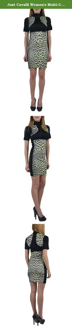 7d0f0ec0e8adf Just Cavalli Women's Multi-Color Short Sleeves Turtleneck Stretch Dress US  S IT 40.