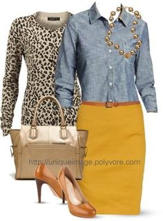 I think the mustard skirt and camel shoes really do it for me. Not sure how denim looks on my top half, but I'd be willing to give it a try. I could pass on the purse, but I like the metallic shine it brings to the outfit. Fall Outfits, Casual Outfits, Fashion Outfits, Womens Fashion, Casual Attire, Fashion 2017, Work Outfits, Fashion Trends, Mustard Skirt