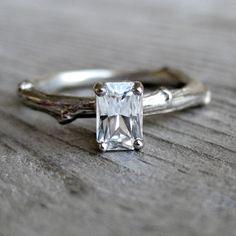 SALE: Emerald Cut White Sapphire Twig Ring, White Gold, Size 6. $735.00, via Etsy.