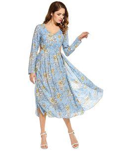 ANGVNS Damen Kleider sexy V-Ausschnitt Langarm-Drucke aushöhlen Side Split Langes Kleid Dress: Amazon.de: Bekleidung