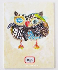 Original painting on canvas board Owl by ColetteCopeland on Etsy, $45.00
