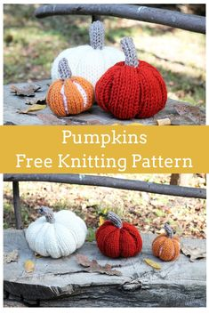 Easy Pumpkin Knitting Patterns by Handy Little Me. Make your own pumpkin patch this fall with this knitting pattern designed for beginners. Halloween Knitting Patterns, Winter Knitting Patterns, Free Knitting Patterns For Women, Beginner Knitting Patterns, Loom Knitting Projects, Easy Knitting, Halloween Crochet, Yarn Projects, Knitting Stitches