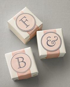 These elegant monograms look lovely adorning favor boxes.