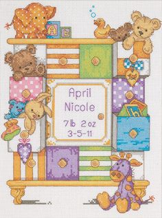 "[""DIMENSIONS-Baby+Hugs:+Counted+Cross+Stitch+Kit:+Birth+Record.+Cute+and+cuddly+items+for+baby.+Adorable+designs+and+soft+fabrics+are+brought+to+you+by+Dimensions+Crafts.++This+kit+contains+14+count+Aida;+cotton+thread;+needle+and+easy+to+follow+instructions+with+alphabet+and+numbers+for+personalization.+Frames\/mats+are+not+included.+Finished+size:+12x9in+(30x23cm.++Design:+Baby+Drawers.+Designer:+Annabel+Spenceley.++Imported.""] $17.59"
