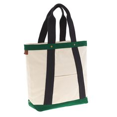 J.CREW Rail and Wharf 12-hour tote in Natural Navy Green - This bag has a top zip, and is pretty tall!