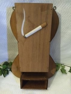 $9.96 Wood Match Holder Fireplace Long Hand Painted Wall Mounted Cigarette