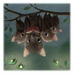 Cute bats drawing art cartoon