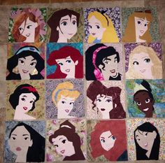 Progress so far... 16 leading ladies... paper pieced by Hannah Hughes. Patterns on fandominstitches. Disney Princesses and leading ladies.