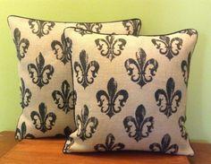 Fluer De Lis Burlap Pillow Cover French Pillow by SassafrasHome