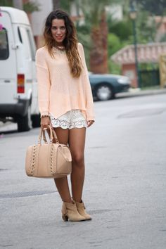 Cream pink top, white lace shorts, nude shoes and bag