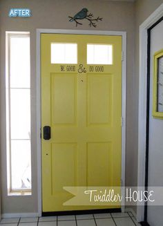 LOVE this idea.painting the inside of my front door a bright accent color--i love this idea! imagine how great your day would start walking out a cheery yellow door! Home Projects, Yellow Doors, Interior, Home, House Styles, Front Door, Home Deco, Home Diy, Doors