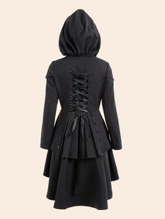 e9c1b62c626 Plus Size Lace Up High Low Hooded Coat