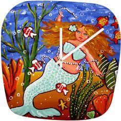 Renie Britenbucher Light Blue Mermaid Modern Clock by Deny Designs