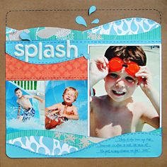 water fun scrapbook idea page Album Scrapbook, Vacation Scrapbook, Disney Scrapbook, Scrapbook Sketches, Scrapbook Page Layouts, Baby Scrapbook, Scrapbook Paper Crafts, Scrapbook Photos, Scrapbook Templates