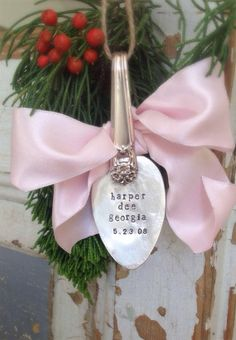 Baby's first Christmas spoon ornament vintage hand by ancypants, $28.00