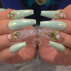 Acrilic Nail Art Designs for Summer Gorgeous Acrilic Nails Art Ideas Glam Nails, Fancy Nails, Bling Nails, Beauty Nails, Cute Nails, Pretty Nails, Fabulous Nails, Gorgeous Nails, Amazing Nails