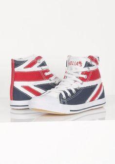 PUNK UNION JACK HI TOP SNEAKERS 8 9 10 rockabilly british london shoes kicks nib