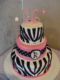 The zebra cake I made for my daughter Rachel's 16th birthday party!